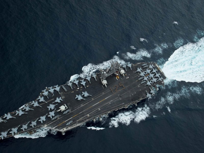 The USS Theodore Roosevelt sails in the Malacca Strait April 1, 2018. Photo: US Navy via Reuters