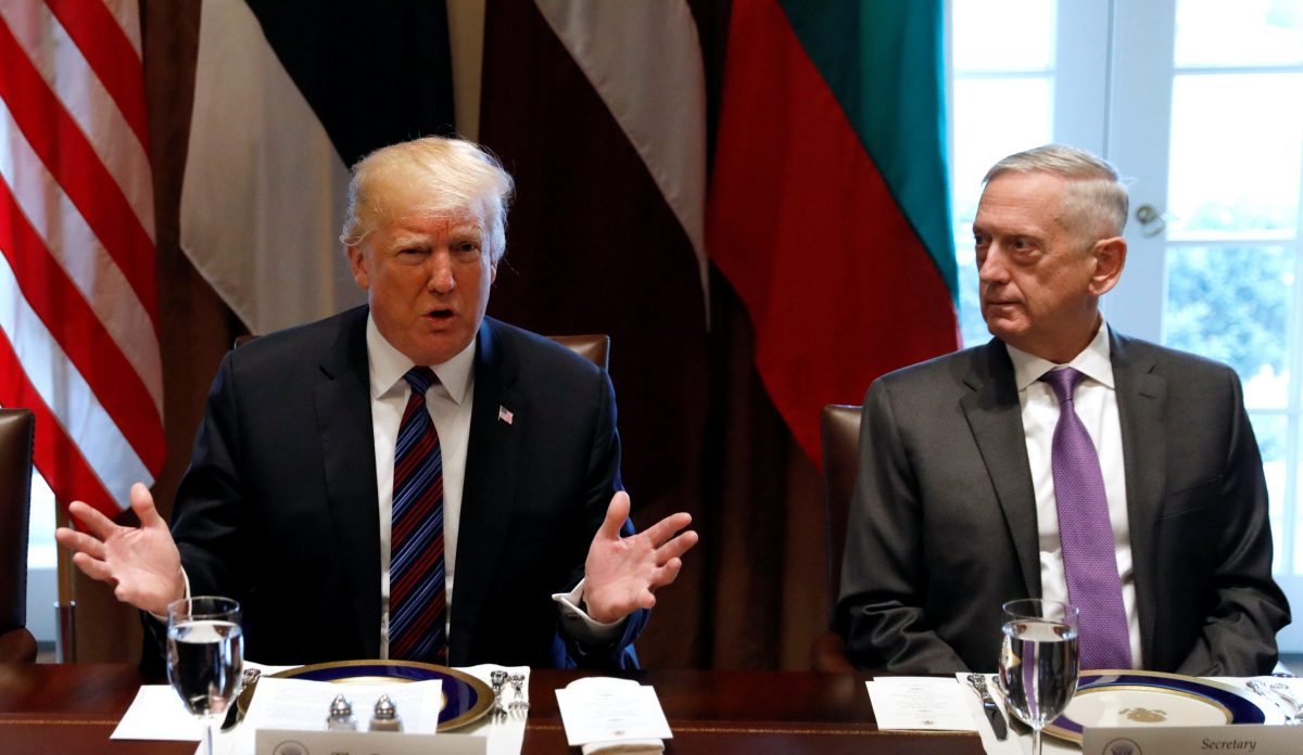 US Secretary of Defense James Mattis with President Trump at the White House: Photo: Reuters/Kevin Lamarque