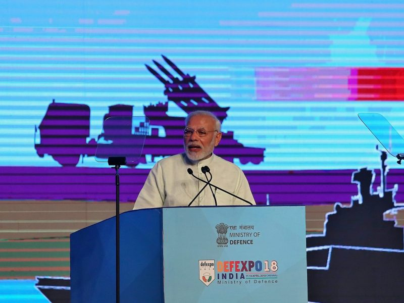 Indian Prime Minister Narendra Modi speaks during the inauguration of  DefExpo 2018 in Chennai, India, on April 12, 2018. Photo: Reuters / P. Ravikumar