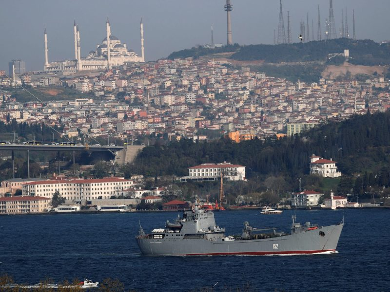 The Russian Navy's landing ship Nikolai Filchenkov, hardly worthy of the description 'Armada' bestowed by a Western tabloid, sails in the Bosporus, on its way to the Mediterranean Sea. Photo: Reuters / Murad Sezer