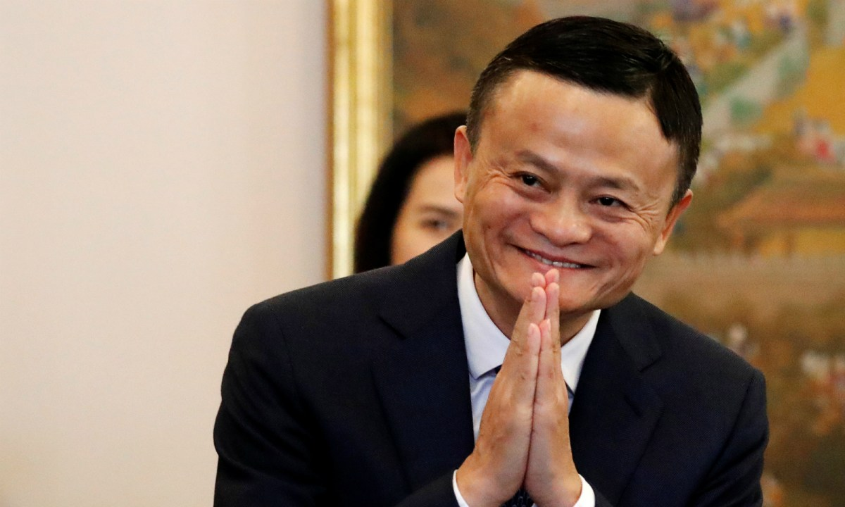 Jack Ma gestures as he arrives for a meeting with Thailand's Prime Minister in Bangkok on April 19. Photo: Reuters/Jorge Silva/Pool