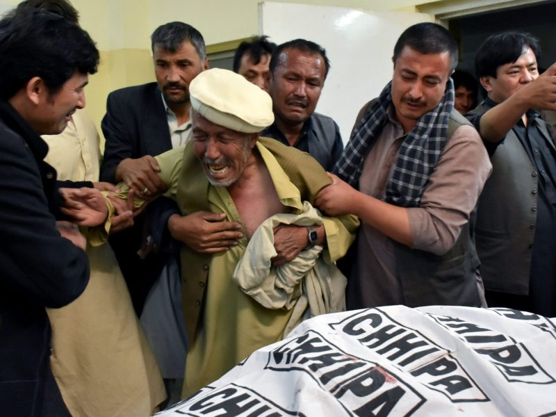 A father of a member of the Hazara community, who was killed with others by unidentified gunmen, weeps over the death of his son at a hospital in Quetta, Pakistan. Photo: Reuters/ Naseer Ahme