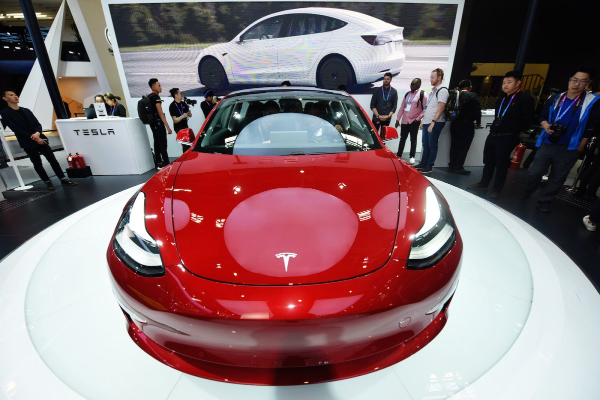 A Tesla Model 3 electric on display at the China Auto Show 2018. Photo: AFP