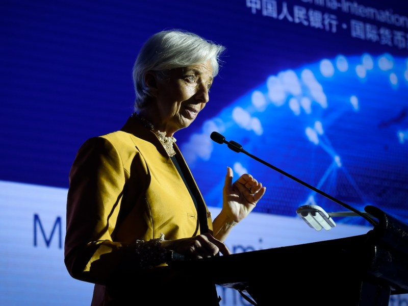 Christine Lagarde at the  People's Bank of China and IMF Conference in Beijing. Photo: AFP / Wang Zhao