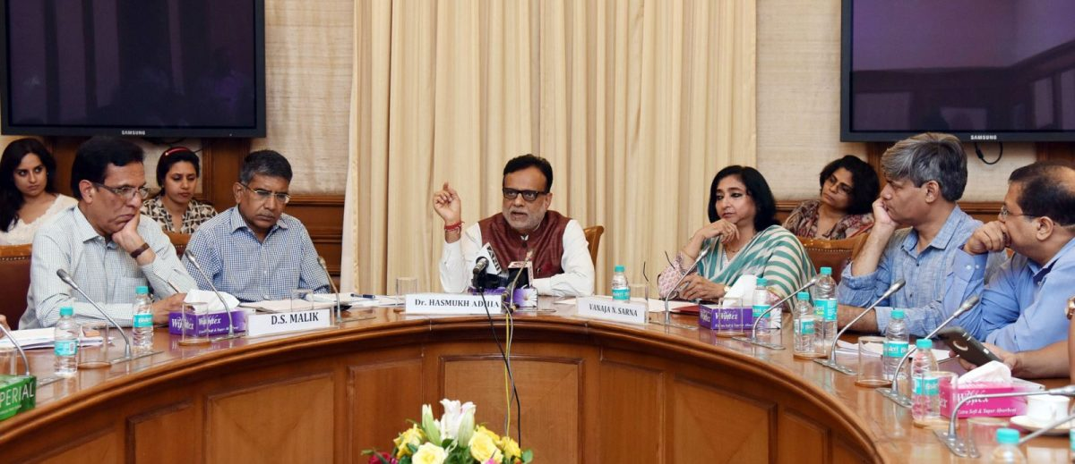 Revenue Secretary Dr Hasmukh Adhia (centre), a key player in arbitration on the Vodafone tax case, talks at a press conference in New Delhi in July 2017. Photo: Wikipedia