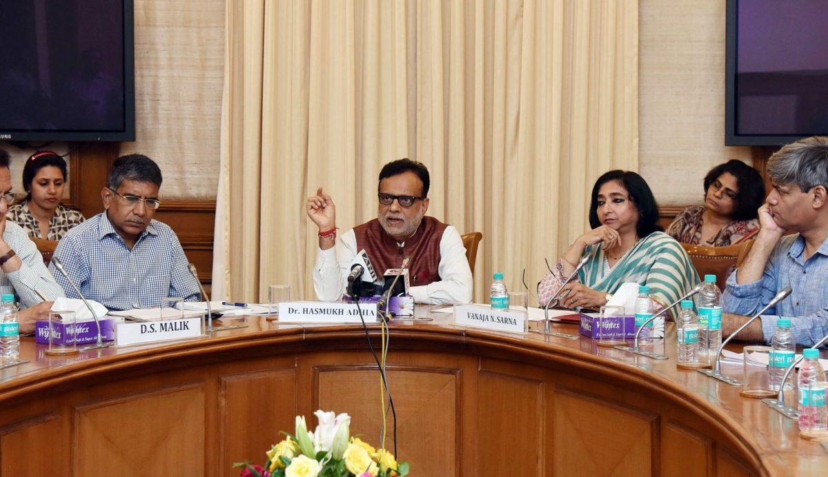 Revenue Secretary Dr Hasmukh Adhia (centre), a key player in arbitration on the Vodafone tax case, talks at a press conference in New Delhi in July 2017. Photo: Wikipedia