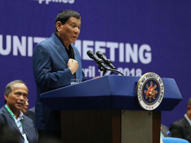 President Rodrigo Duterte at the meeting with the Filipino community in Hong Kong held at Kai Tak Cruise Terminal on April 12, 2018. Photo: Philippine government