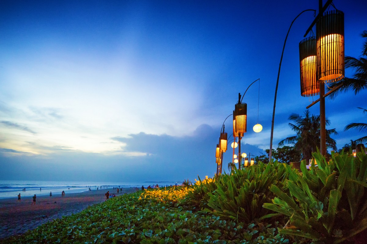 Traditional lanterns on Seminyak beach on the tourist island of Bali, Indonesia. September 15, 2016