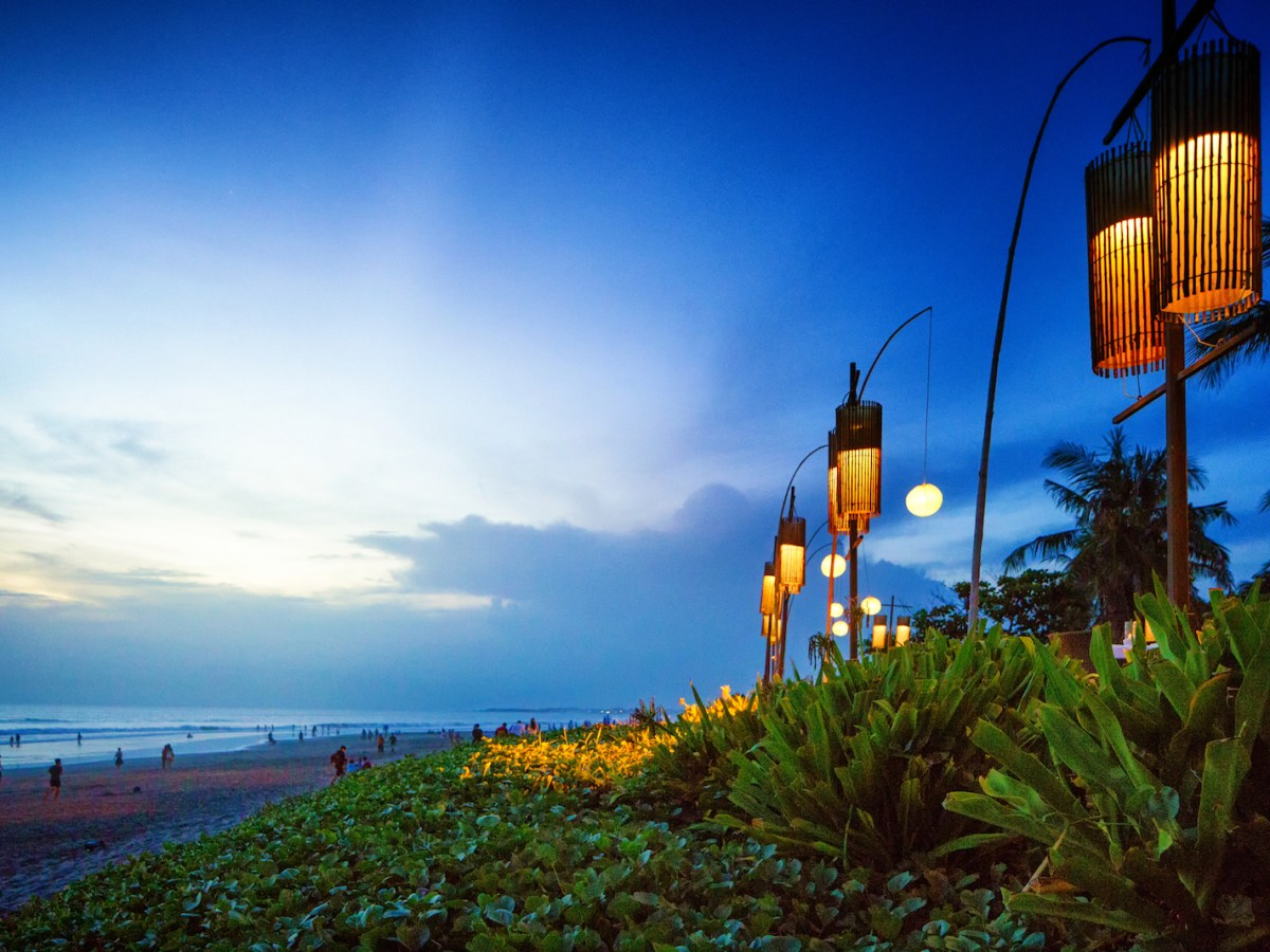Traditional lanterns on Seminyak beach on the tourist island of Bali, Indonesia. September 15, 2016