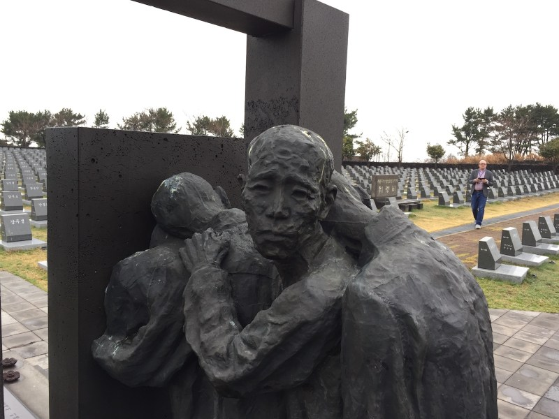 Doomed civilians walk into darkness - sculpture at Jeju Peace Museum; with 4,000 gravestones for those missing after the Jeju massacre. Photo: Asia Times/ Andrew Salmon