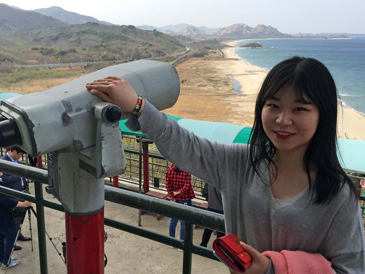 In Korea's easternmost DMZ observatory, teen Lee Eun-Kyung hopes for a future free from the fear of war. Photo: Asia Times/Andrew Salmon