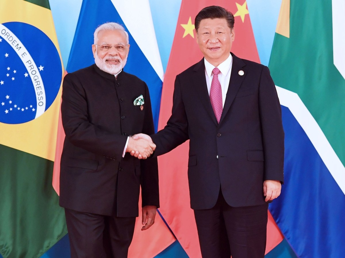 Indian Prime Minister Narendra Modi with Chinese President Xi Jinping during the BRICS summit last year. Photo: AFP