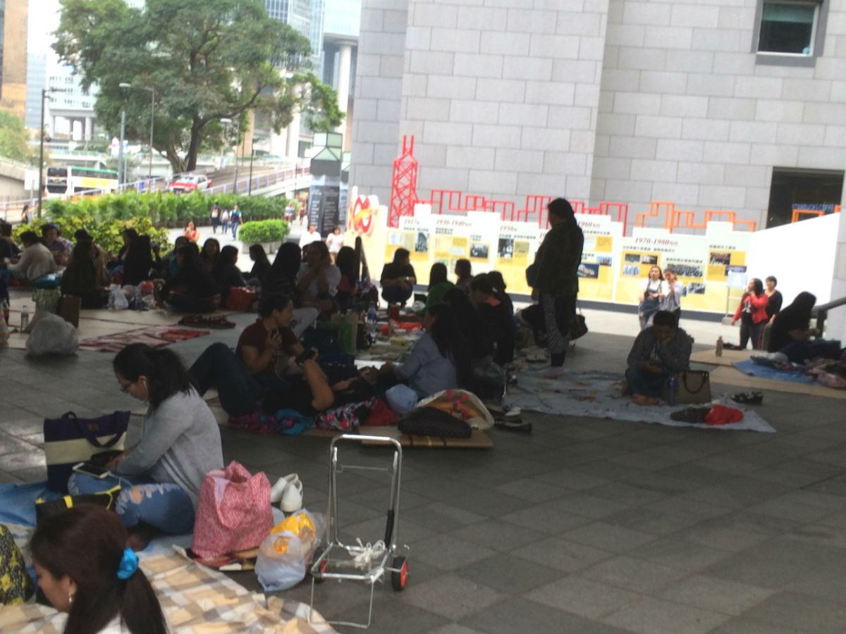 Filipino domestic workers gather in Central on Hong Kong Island. Photo: Asia Times