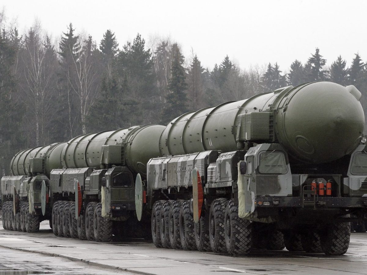 Russian Topol ICBMs outside Moscow for the nation's annual May 9 Victory Day parade. Photo: AFP/DIMA KOROTAYEV