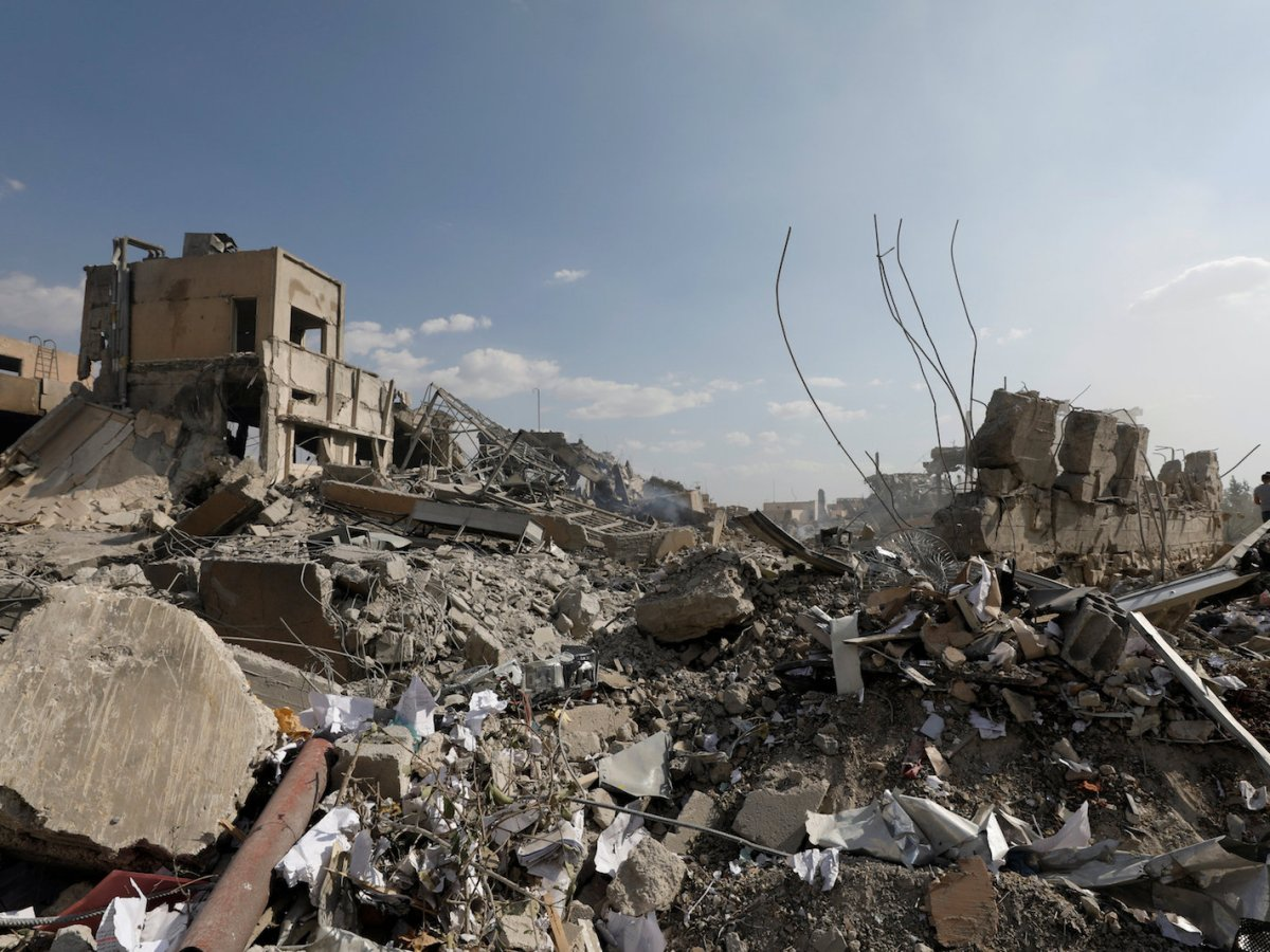 The destroyed Scientific Research Center is seen in Damascus, Syria April 14, 2018. Photo: Reuters/Omar Sanadiki