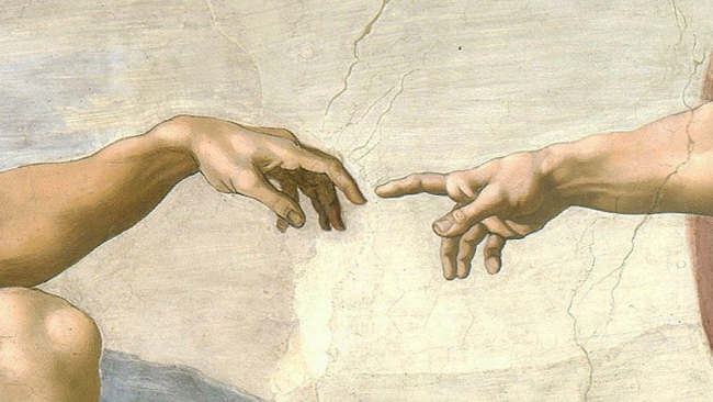 Detail of Michelangelo's painting.