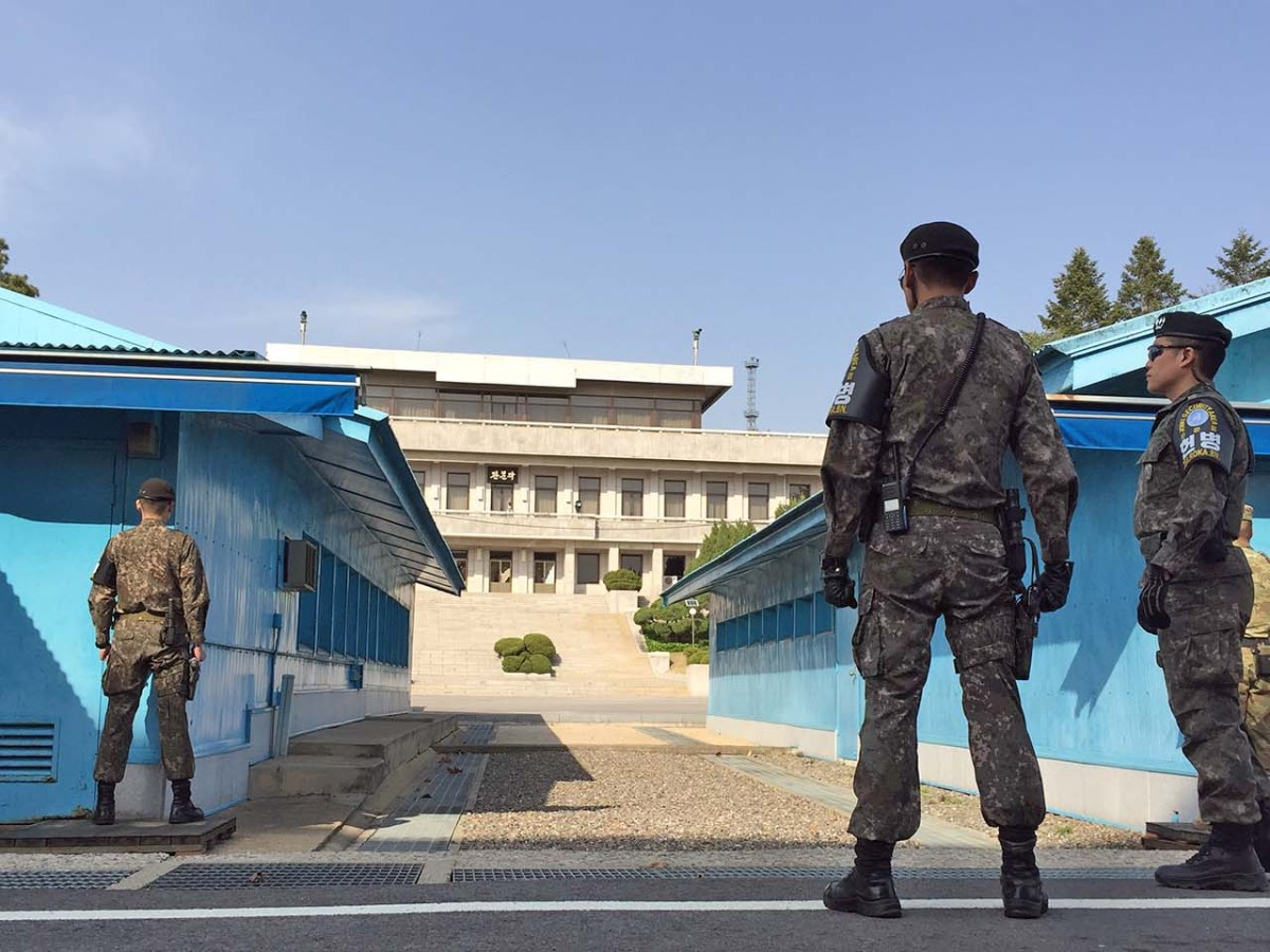 The truce huts of conference row – Kim Jong-un will cross here on Friday. Photo: Asia Times/Andrew Salmon
