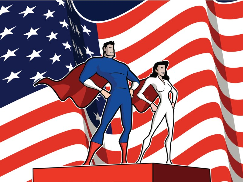 A cartoon style illustration of a superhero couple with American Flag in the background. Photo: iStock