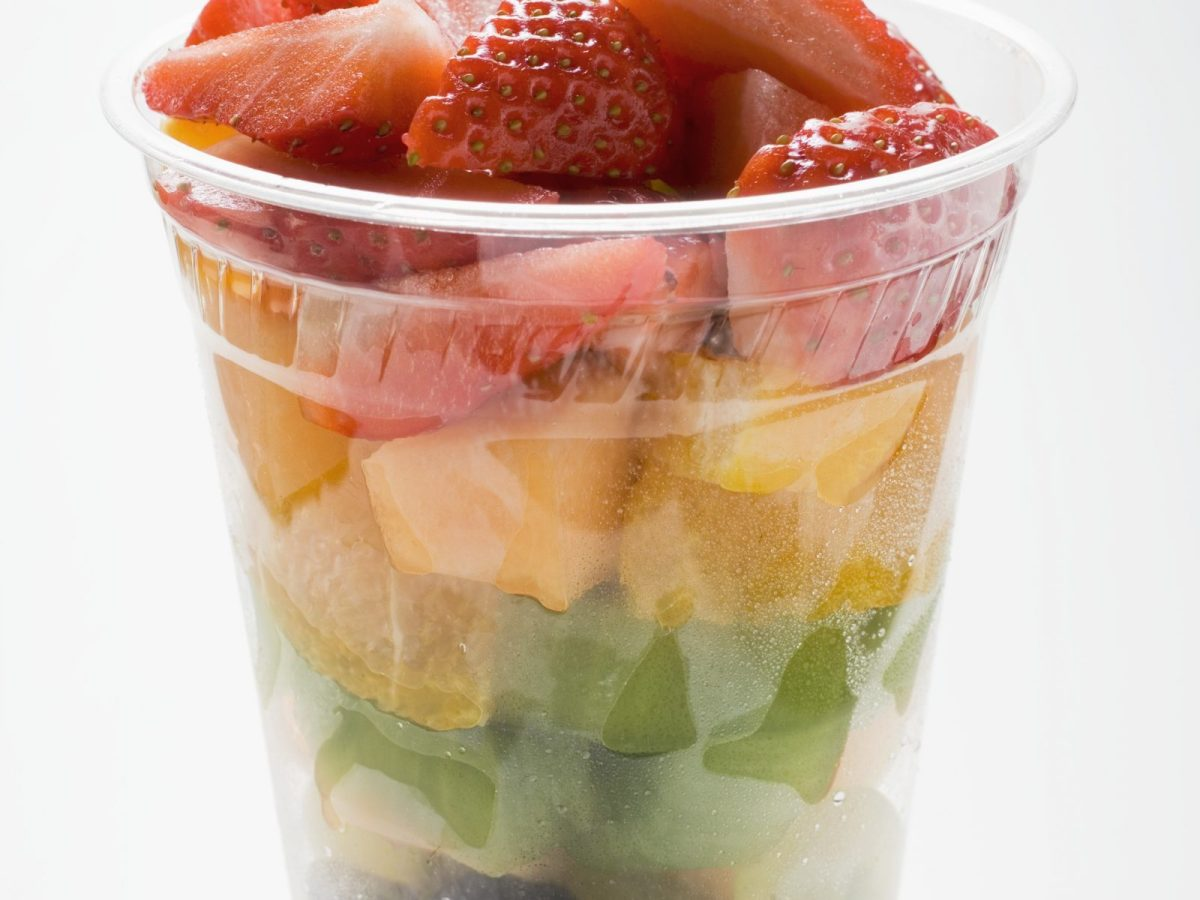 A plastic cup with fruit. Photo: AFP