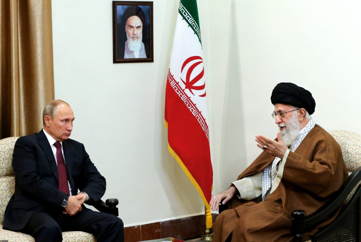 Iran's supreme leader Ayatollah Ali Khamenei meets with Russian president Vladimir Putin in Tehran on November 1, 2017. Photo: AFP/Iranian Supreme Leader's website