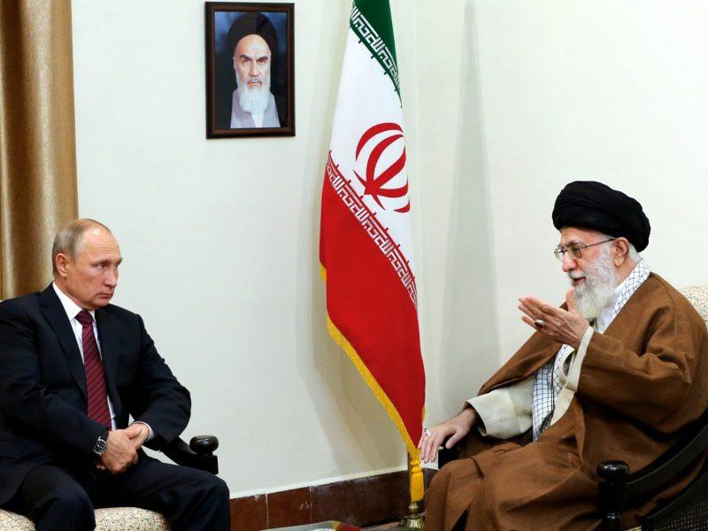 Iran's supreme leader Ayatollah Ali Khamenei meets with Russian president Vladimir Putin in Tehran on November 1, 2017. Photo: AFP/Iranian Supreme Leader's website