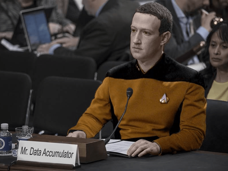 Mark Zuckerberg as Data from Star Trek the Next Generation.