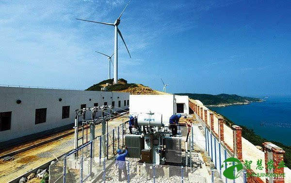 A mini power plant with a wind turbine on an island in the South China Sea. Photo: Xinhua