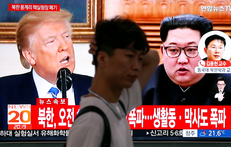 A news report on the dismantling of the Punggye-ri nuclear testing site is broadcast in Seoul on Thursday. Photo: Reuters/Kim Hong-Ji