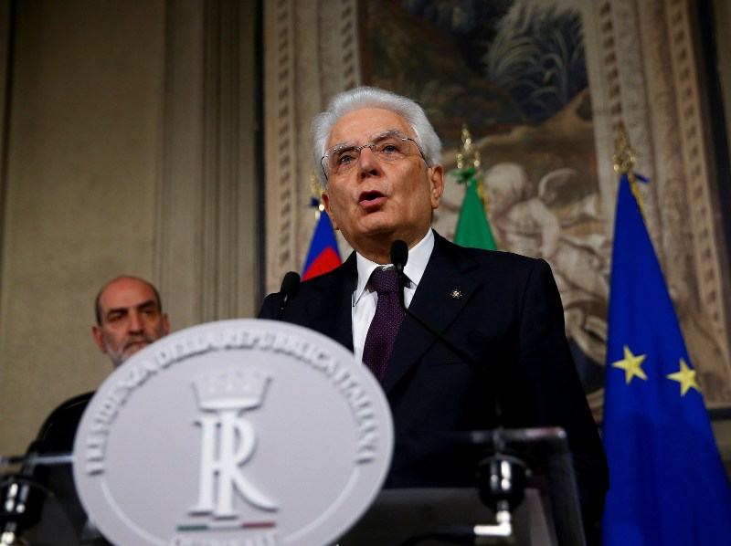 Italian President Sergio Mattarella foiled a populist coaltion's efforts to form a government, providing some relief to markets, but setting the stage for prolonged political uncertainty. Photo: Reuters/Alessandro Bianchi