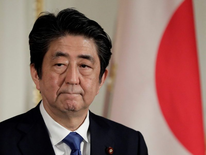 Shinzo Abe could face a rocky third term as the economy contracts. Photo: AFP / KiyoshiOta