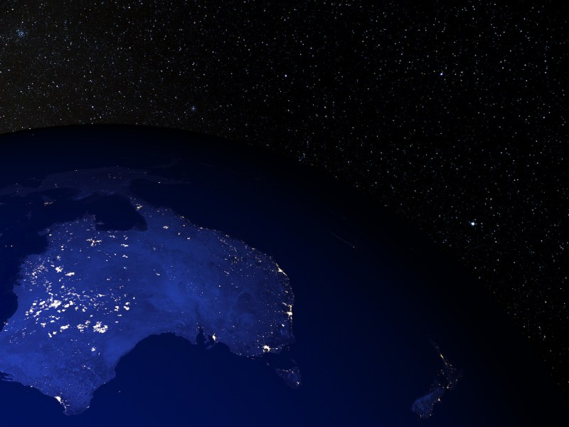 A detailed rendering using NASA space imagery of Australia at night. Image: iStock/Getty Images