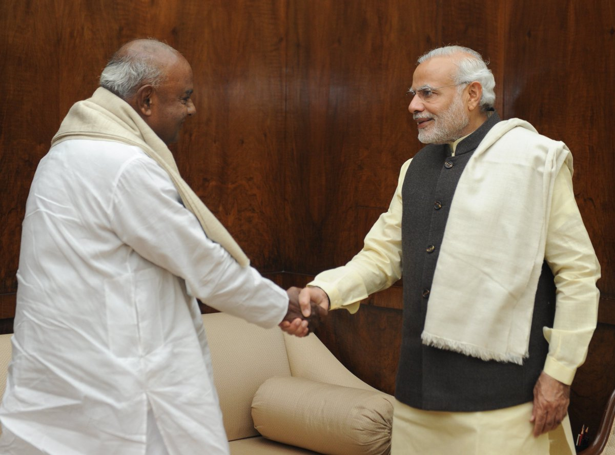 Indian Prime Minister Narendra Modi meets JD(S) leader H D Deve Gowda. Photo: Prime Minister's Office