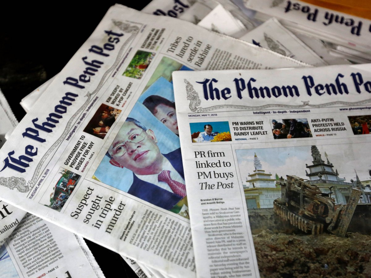 Phnom Penh Post newspapers are seen on a desk in a picture taken on May 7, 2018. Photo: Reuters/ Samrang Pring
