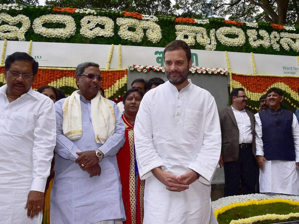 Congress vice president Rahul Gandhi, center, is seen with Karnataka Chief Minister Siddaramaiah second left, and state ministers in Bangalore. Photo: AFP