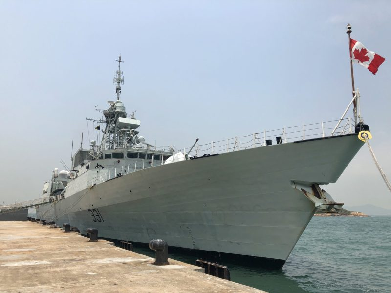 HMCS Vancouver, a Royal Canadian Navy frigate, is seen docking at a pier in Hong Kong on May 3, 2018, during its first stop of a months-long trip to nations in the Asia-Pacific region. Photo: Frank Chen/Asia Times