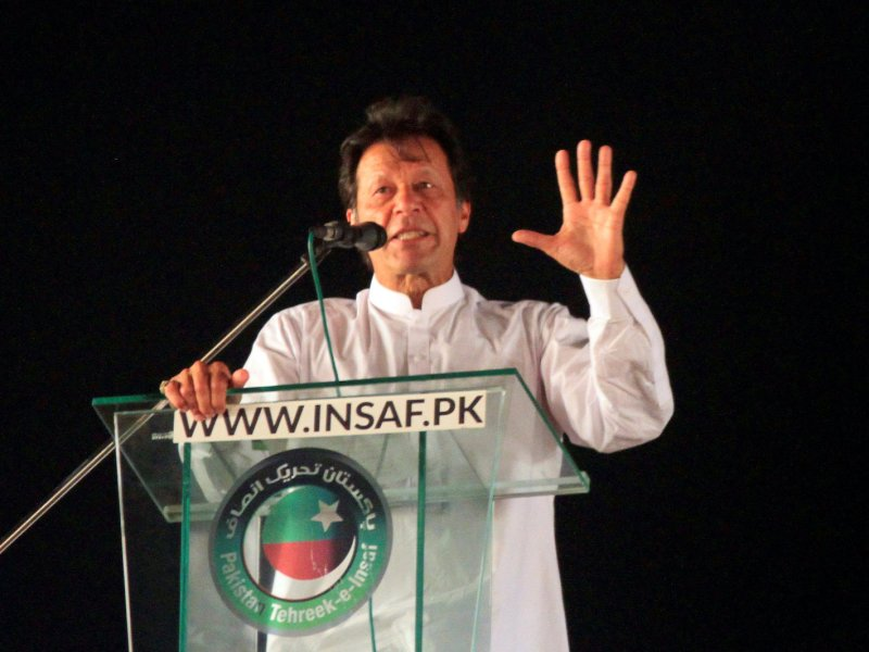 Imran Khan, Pakistan's prime minister and chairman of the Pakistan Tehreek-e-Insaf (PTI) political party, addresses supporters in Lahore. Photo: Reuters / Mohsin Raza