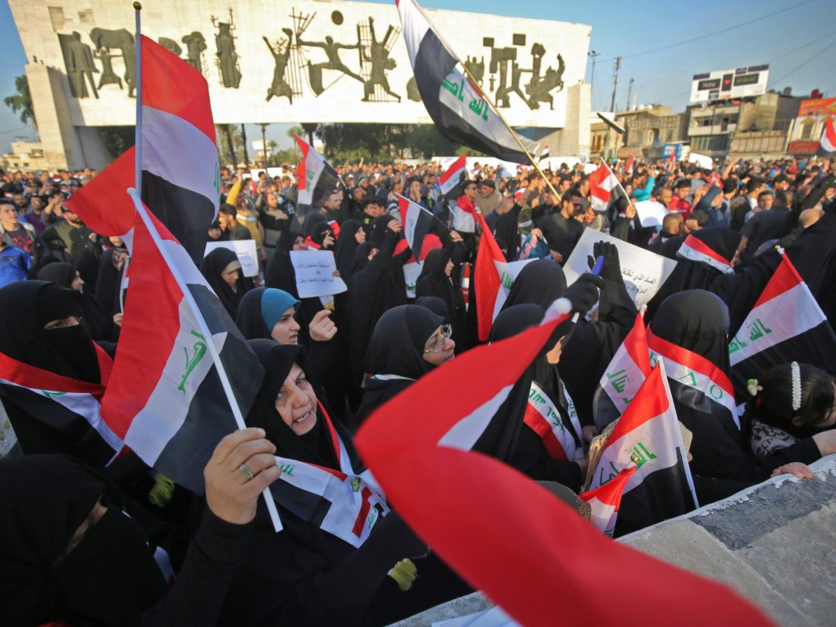 Iraqi supporters of Shiite cleric Moqtada al-Sadr in Baghdad's Tahrir square on March 2, 2018. His cousin-in-law is a contender to become prime minister. Photo: AFP/Ahmad al-Rubaye