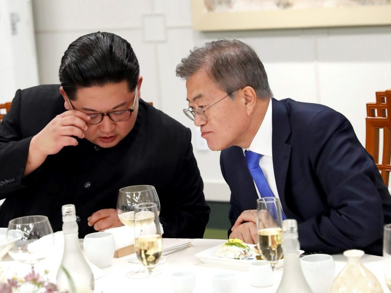 The devil may be in the detail. South Korean president Moon Jae-in (r) and North Korean leader Kim Jong-un in Panmunjom on April 27, 2018. Photo: AFP/Inter-Korean Summit Pool/Anadolu Agency