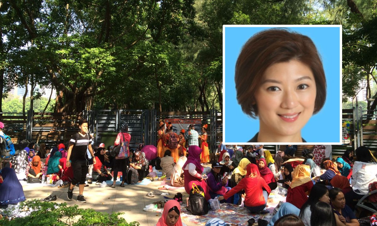 Eunice Yung Hoi-Yan (inset); Indonesian domestic workers gather in Victoria Park in Causeway Bay on Hong Kong Island. Photos: Asia Times, HK Legislative Council