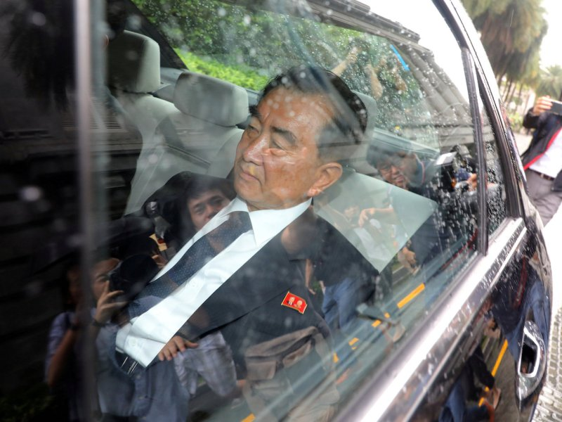 North Korean leader Kim Jong-un's de facto chief of staff, Kim Chang Son, leaves his hotel in Singapore on Wednesday. Photo: Yonhap via Reuters