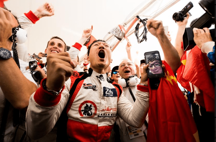 Jackie Chan's DC Racing team celebrate historic finish at 2017 24 Hours of Le Mans. Photo credit: WEC/Adrenal Media.