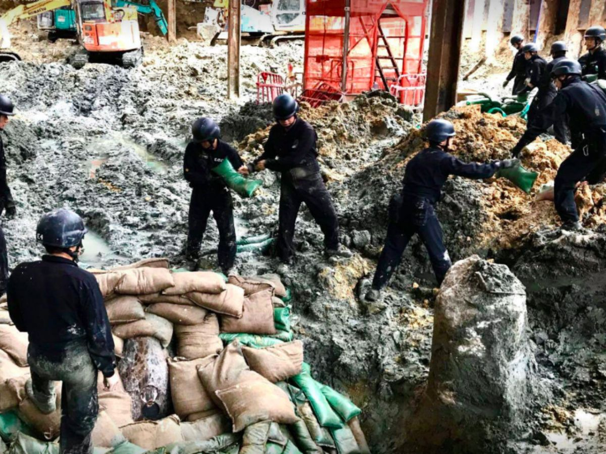The bomb was found in an MTR construction site in Wan Chai on Hong Kong Island. Photo: HK Police