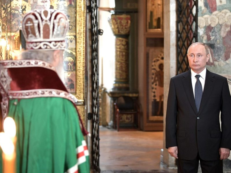 Vladimir Putin during a service at the Kremlin's Cathedral of the Annunciation conducted by Patriarch Kirill after being sworn in as President of Russia on May 07, 2018. Photo: AFP/Russian Presidential Press and Information Office/Anadolu Agency