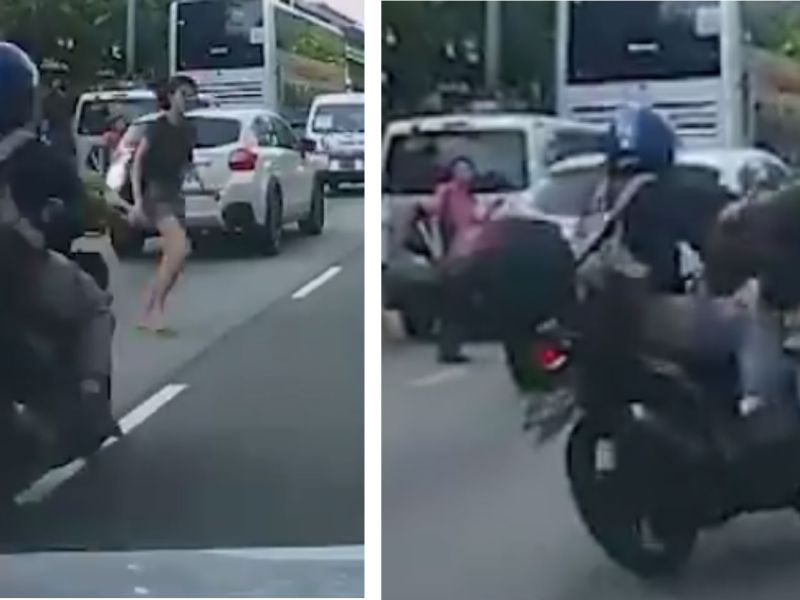 A jaywalking woman was hit by a motorcycle in Yishun Avenue 2 towards Yishung Ring Road in Singapore. Photo: Facebook