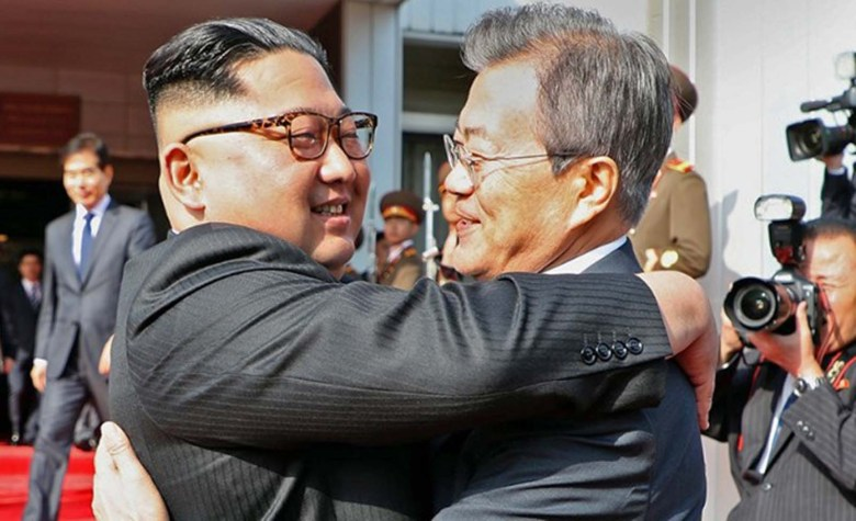 Not quite Seoul mates – North Korean leader Kim Jong-un and South Korea President Moon Jae-in in a friendly embrace at their second summit in North Korea. Photo: The Blue House