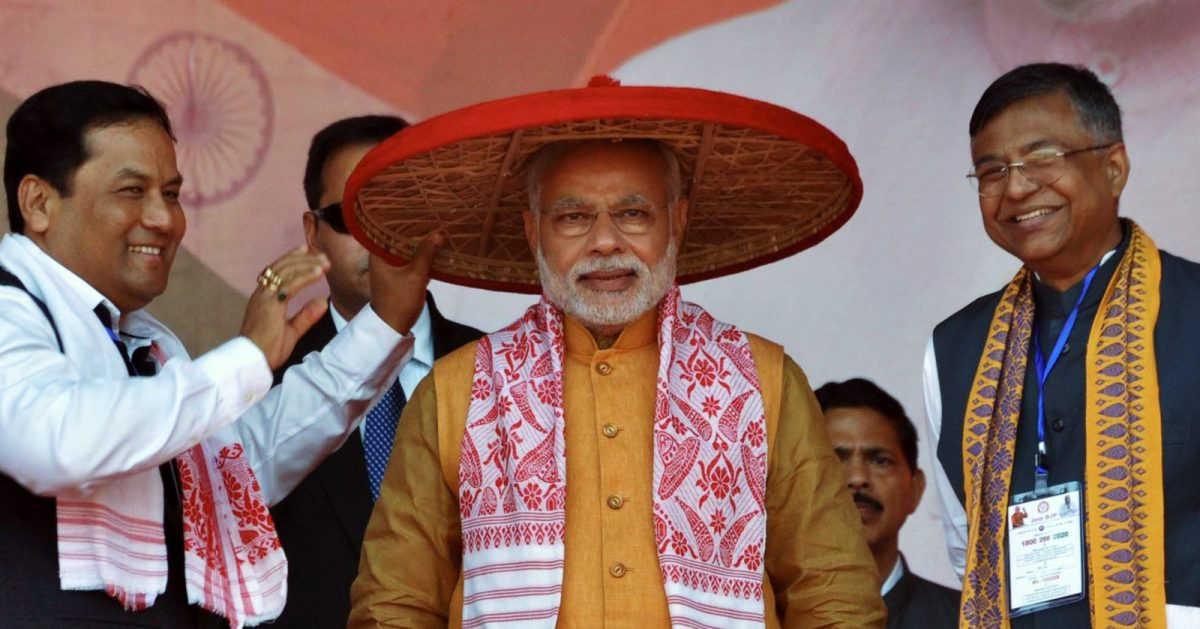 Indian Prime Minister Narendra Modi at a party rally in Guwahati. Photo: AFP / Biju Boro
