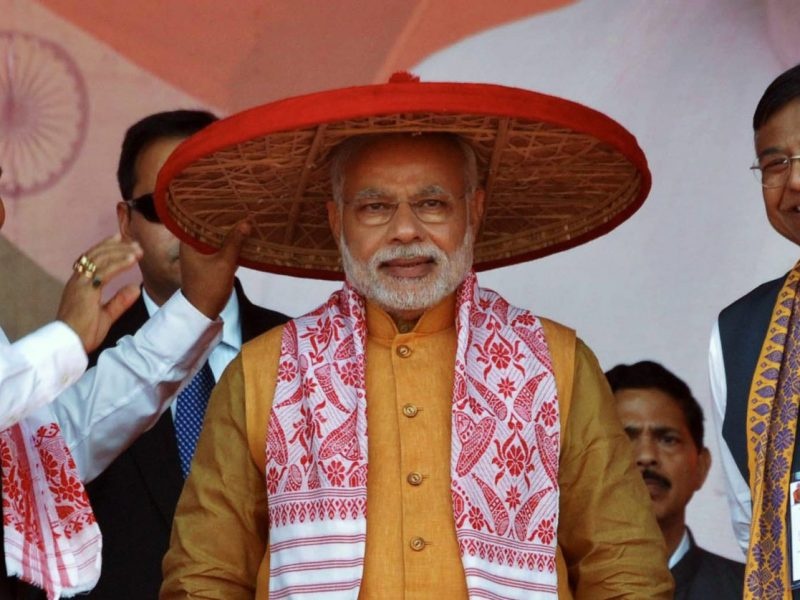 Indian Prime Minister Narendra Modi at a party rally in Guwahati. Photo: AFP / Biju Boro