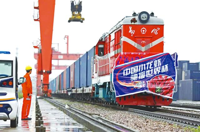 A train carrying about 100,000 crayfish departed for Moscow from China's Wuhan earlier this month. Photo: handout
