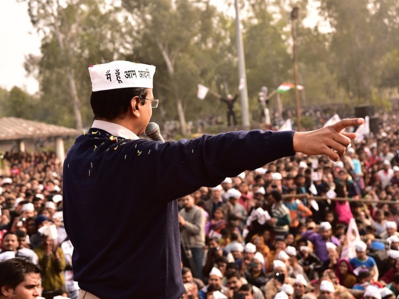 Delhi Chief Minister Arvind Kejriwal addressing a rally in Delhi. Photo: Courtesy Aam Aadmi Party