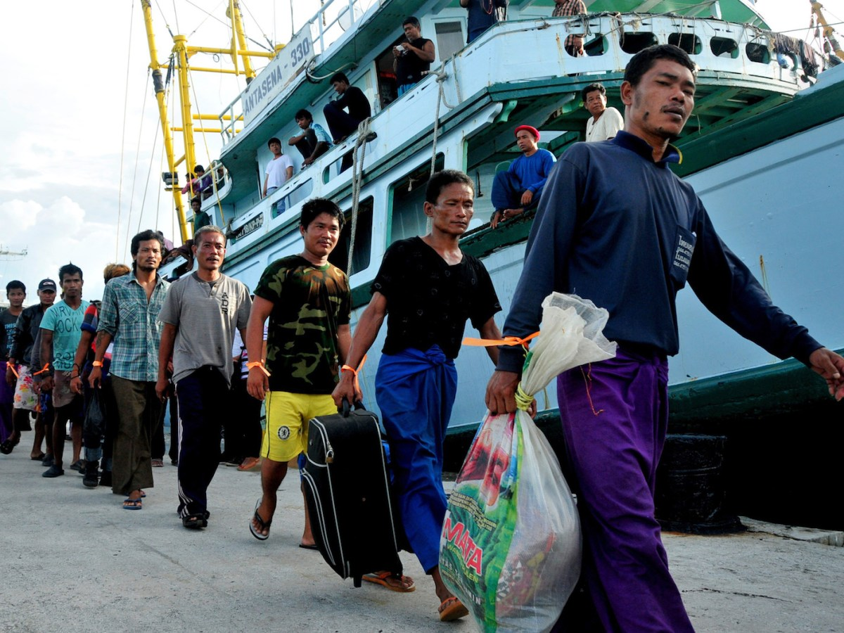 Fishermen mostly from Myanmar and Thailand are rescued in 2015 by Indonesian and Thai officials on remote Benjina island in Maluku province. Jakarta set up a team to investigate slavery in the industry, as these men were sent home. Photo: AFP/ Ugeng Nugroho /Ministry of Fishery